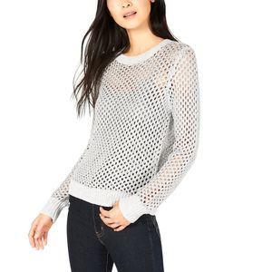 Bar III S Open-Stitch Silver Metallic Sweater